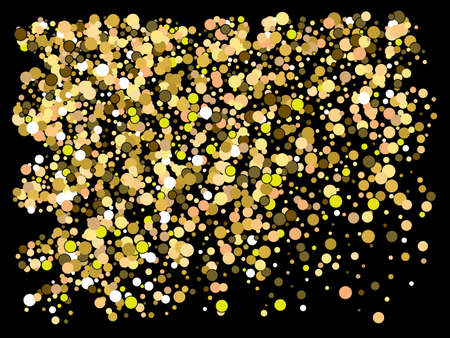 Falling confetti on black background. Stylish element of your design. Vector illustration vintage. Gold luxury festive decoration for holidays and celebrations.