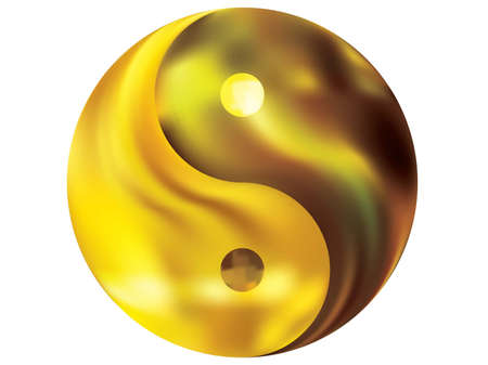 Blurred background in the form of yin yang. Trendy soft color concept. Traditional original liquid theme. Yellow modern abstract cover for your graphic design or creative projects.
