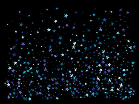Luxury festive abstract stars. Vector illustration backdrop. Vintage glitter design elements. Blue bright modern chaotic texture for celebrations and holidays. Ilustracja