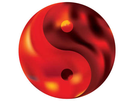 Gradient background in the form of yin yang. Holographic original liquid theme. Trendy soft color effect. Red modern, natural cover for your creative projects and graphic design. Vectores