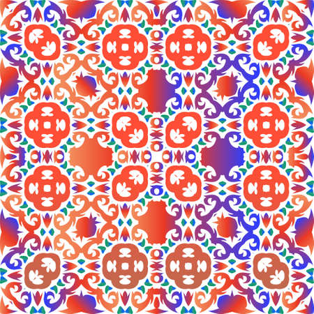 Mexican vintage talavera tiles. Vector seamless pattern elements. Universal design. Red antique background for pillows, print, wallpaper, web backdrop, towels, surface texture.