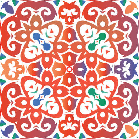 Ornamental talavera mexico tiles decor. Stylish design. Vector seamless pattern collage. Red gorgeous flower folk print for linens, smartphone cases, scrapbooking, bags or T-shirts.