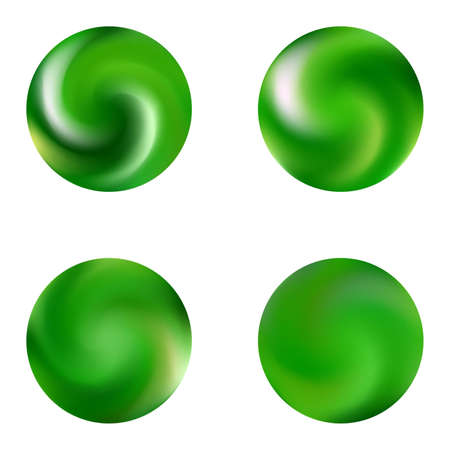 Collection with round modern backgrounds. Trendy soft color pearl. Simple retro style of 80th. Green fluid colorful gradient shapes for your mobile app and screens.