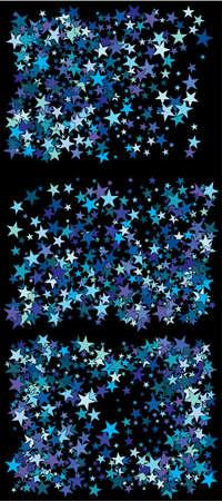 Falling golden blue stars. Vector illustration flyer. Vintage cosmic glitter elements for your design. Blue set of invitation templates, background images, posters or greeting cards.