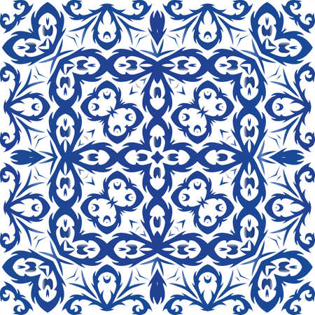 Portuguese vintage azulejo tiles. Vector seamless pattern template. Modern design. Blue antique background for pillows, print, wallpaper, web backdrop, towels, surface texture. Foto de archivo - 133432424