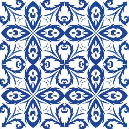 Portuguese ornamental azulejo ceramic. Hand drawn design. Vector seamless pattern collage. Blue vintage backdrop for wallpaper, web background, towels, print, surface texture, pillows. Foto de archivo - 133432428