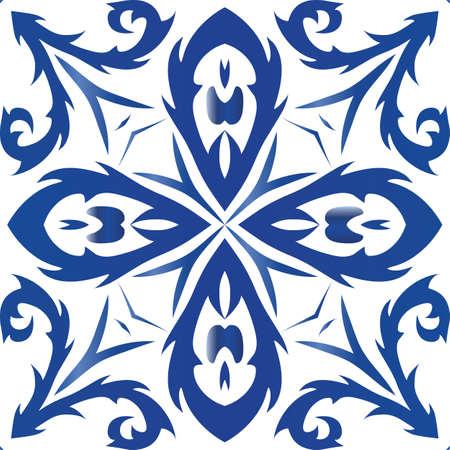 Ethnic ceramic tile in portuguese azulejo. Vector seamless pattern trellis. Colored design. Blue vintage ornament for surface texture, towels, pillows, wallpaper, print, web background. Foto de archivo - 133432429