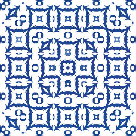 Decorative color ceramic azulejo tiles. Minimal design. Vector seamless pattern template. Blue folk ethnic ornament for print, web background, surface texture, towels, pillows, wallpaper. Foto de archivo - 133432516