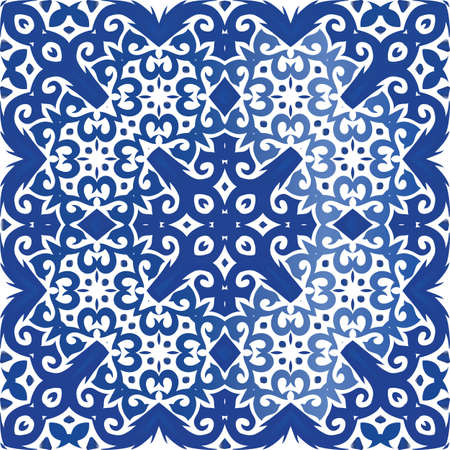 Portuguese ornamental azulejo ceramic. Vector seamless pattern concept. Universal design. Blue vintage backdrop for wallpaper, web background, towels, print, surface texture, pillows. Foto de archivo - 133432521