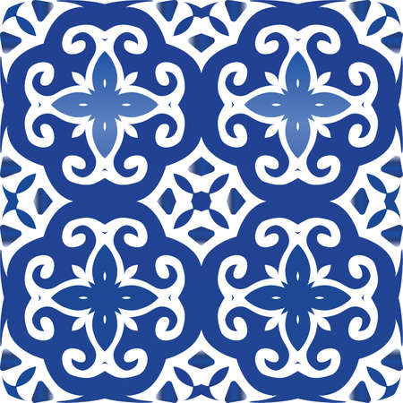 Decorative color ceramic azulejo tiles. Hand drawn design. Vector seamless pattern frame. Blue folk ethnic ornament for print, web background, surface texture, towels, pillows, wallpaper. Foto de archivo - 133432515