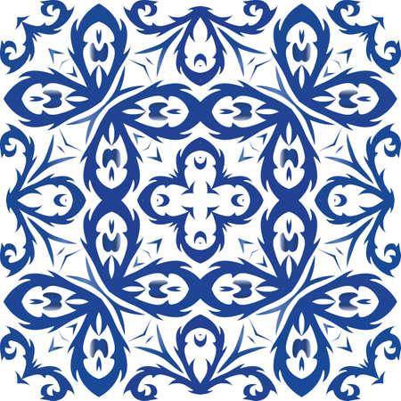 Ornamental azulejo portugal tiles decor. Vector seamless pattern illustration. Minimal design. Blue gorgeous flower folk print for linens, smartphone cases, scrapbooking, bags or T-shirts. Foto de archivo - 133432514