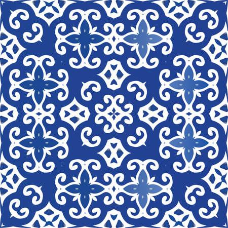 Decorative color ceramic azulejo tiles. Vector seamless pattern poster. Hand drawn design. Blue folk ethnic ornament for print, web background, surface texture, towels, pillows, wallpaper. Foto de archivo - 133432520
