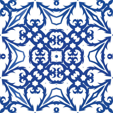 Ornamental azulejo portugal tiles decor. Fashionable design. Vector seamless pattern flyer. Blue gorgeous flower folk print for linens, smartphone cases, scrapbooking, bags or T-shirts. Foto de archivo - 133432512