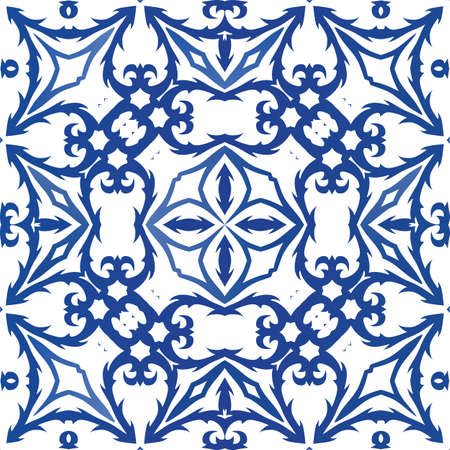 Antique portuguese azulejo ceramic. Vector seamless pattern concept. Modern design. Blue floral and abstract decor for scrapbooking, smartphone cases, T-shirts, bags or linens. Foto de archivo - 133432523