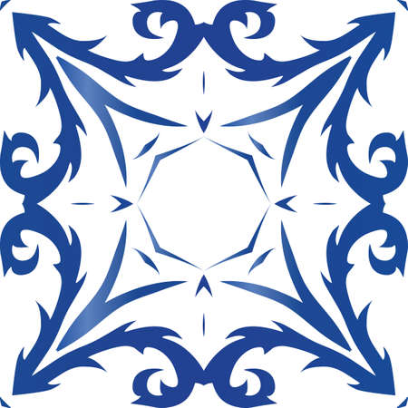 Decorative color ceramic azulejo tiles. Vector seamless pattern concept. Original design. Blue folk ethnic ornament for print, web background, surface texture, towels, pillows, wallpaper. Foto de archivo - 133432531