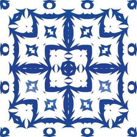 Decorative color ceramic azulejo tiles. Vector seamless pattern frame. Geometric design. Blue folk ethnic ornament for print, web background, surface texture, towels, pillows, wallpaper. Foto de archivo - 133432530