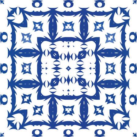Portuguese ornamental azulejo ceramic. Kitchen design. Vector seamless pattern texture. Blue vintage backdrop for wallpaper, web background, towels, print, surface texture, pillows. Foto de archivo - 133432528