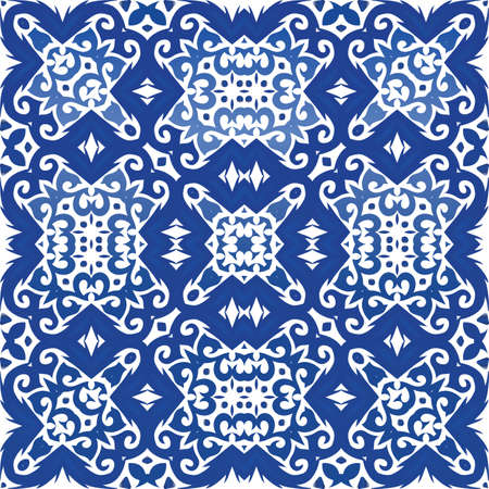 Traditional ornate portuguese azulejo. Vector seamless pattern frame. Stylish design. Blue abstract background for web backdrop, print, pillows, surface texture, wallpaper, towels. Foto de archivo - 133432659