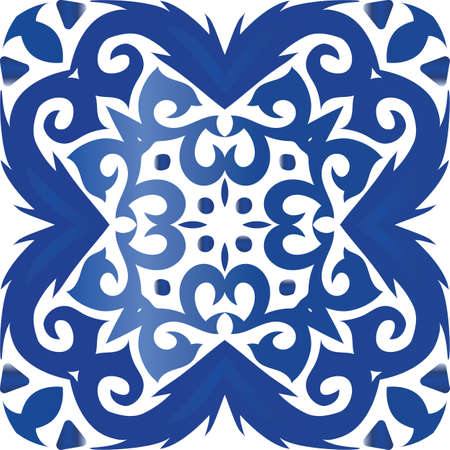 Traditional ornate portuguese azulejo. Creative design. Vector seamless pattern poster. Blue abstract background for web backdrop, print, pillows, surface texture, wallpaper, towels. Foto de archivo - 133432653