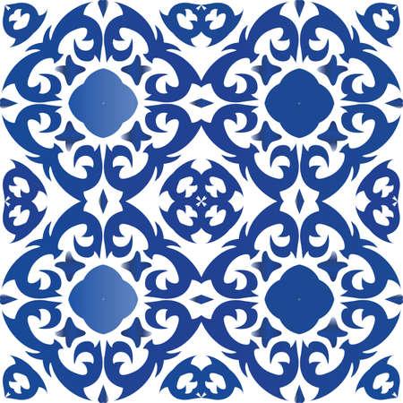Portuguese vintage azulejo tiles. Vector seamless pattern poster. Fashionable design. Blue antique background for pillows, print, wallpaper, web backdrop, towels, surface texture. Foto de archivo - 133432657