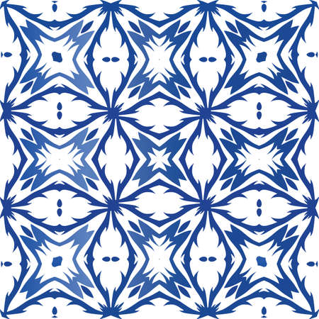 Antique portuguese azulejo ceramic. Vector seamless pattern collage. Modern design. Blue floral and abstract decor for scrapbooking, smartphone cases, T-shirts, bags or linens. Foto de archivo - 133432660