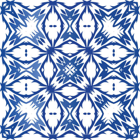 Antique portuguese azulejo ceramic. Graphic design. Vector seamless pattern trellis. Blue floral and abstract decor for scrapbooking, smartphone cases, T-shirts, bags or linens. Foto de archivo - 133432655