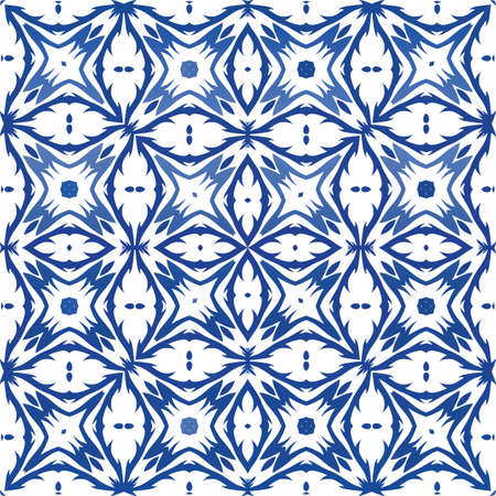 Traditional ornate portuguese azulejo. Vector seamless pattern collage. Minimal design. Blue abstract background for web backdrop, print, pillows, surface texture, wallpaper, towels. Foto de archivo - 133432658