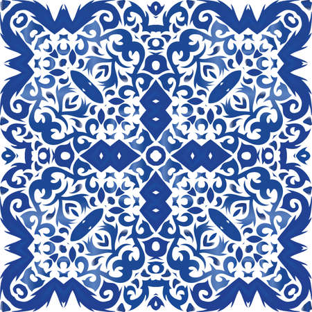 Ornamental azulejo portugal tiles decor. Geometric design. Vector seamless pattern poster. Blue gorgeous flower folk print for linens, smartphone cases, scrapbooking, bags or T-shirts. Foto de archivo - 133432654