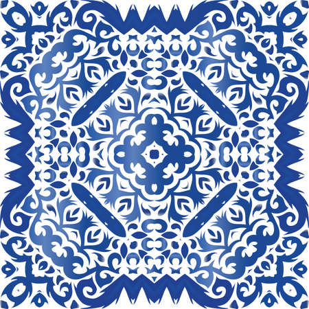 Antique azulejo tiles patchwork. Stylish design. Vector seamless pattern template. Blue spain and portuguese decor for bags, smartphone cases, T-shirts, linens or scrapbooking. Foto de archivo - 133432661
