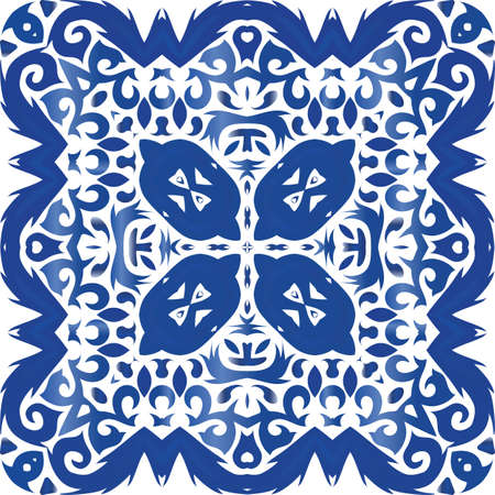Antique portuguese azulejo ceramic. Vector seamless pattern watercolor. Colored design. Blue floral and abstract decor for scrapbooking, smartphone cases, T-shirts, bags or linens. Foto de archivo - 133432665