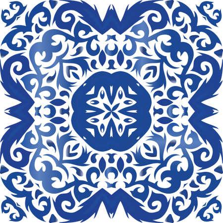 Decorative color ceramic azulejo tiles. Vector seamless pattern frame. Bathroom design. Blue folk ethnic ornament for print, web background, surface texture, towels, pillows, wallpaper. Foto de archivo - 133432668