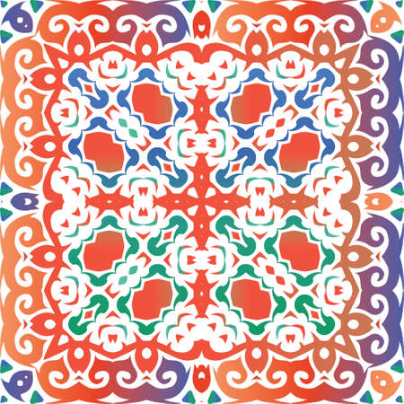 Antique talavera tiles patchwork. Kitchen design. Vector seamless pattern frame. Red mexican ornamental decor for bags, smartphone cases, T-shirts, linens or scrapbooking. Foto de archivo - 133432662