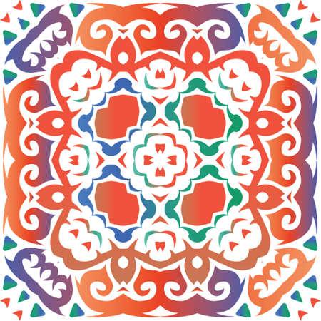 Decorative color ceramic talavera tiles. Minimal design. Vector seamless pattern trellis. Red folk ethnic ornament for print, web background, surface texture, towels, pillows, wallpaper. Foto de archivo - 133432664