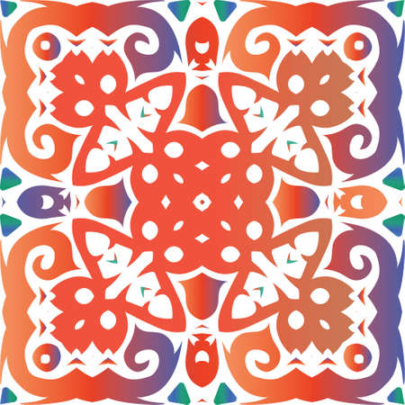 Ornamental talavera mexico tiles decor. Vector seamless pattern concept. Original design. Red gorgeous flower folk print for linens, smartphone cases, scrapbooking, bags or T-shirts. Foto de archivo - 133432666