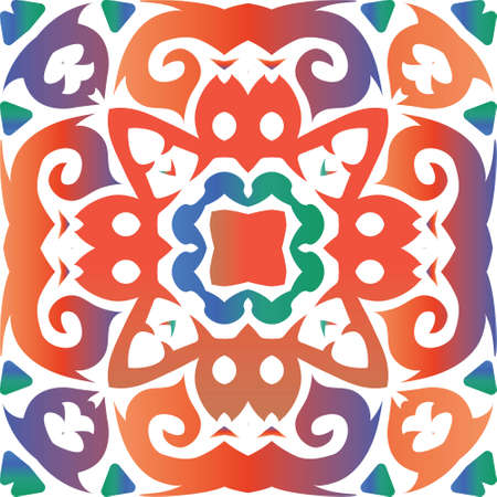 Antique mexican talavera ceramic. Minimal design. Vector seamless pattern template. Red floral and abstract decor for scrapbooking, smartphone cases, T-shirts, bags or linens. Foto de archivo - 133432663