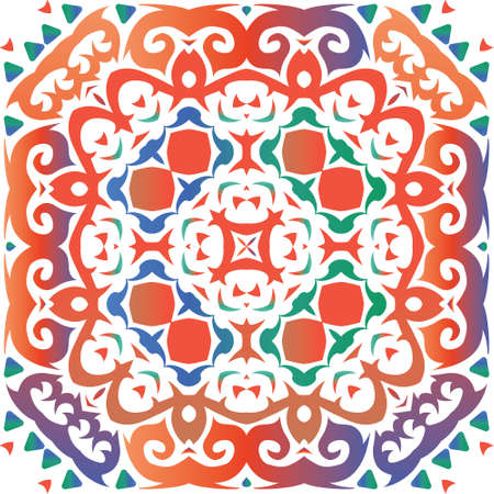 Antique talavera tiles patchwork. Stylish design. Vector seamless pattern texture. Red mexican ornamental decor for bags, smartphone cases, T-shirts, linens or scrapbooking. Foto de archivo - 133432669