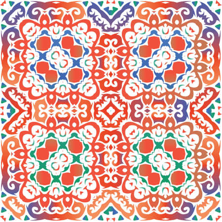 Traditional ornate mexican talavera. Vector seamless pattern theme. Hand drawn design. Red abstract background for web backdrop, print, pillows, surface texture, wallpaper, towels. Foto de archivo - 133432706