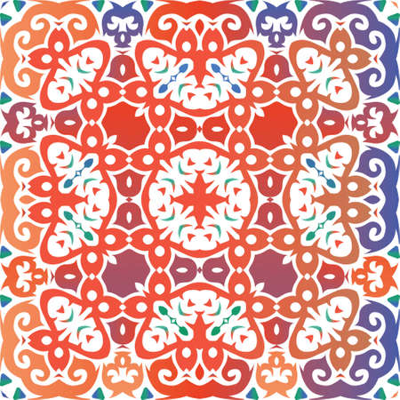 Antique ornate tiles talavera mexico. Vector seamless pattern watercolor. Modern design. Red ethnic background for T-shirts, scrapbooking, linens, smartphone cases or bags. Foto de archivo - 133432704