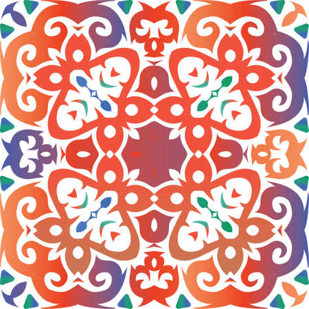 Ethnic ceramic tile in mexican talavera. Vector seamless pattern frame. Minimal design. Red vintage ornament for surface texture, towels, pillows, wallpaper, print, web background. Foto de archivo - 133432700