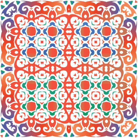 Traditional ornate mexican talavera. Geometric design. Vector seamless pattern trellis. Red abstract background for web backdrop, print, pillows, surface texture, wallpaper, towels. Foto de archivo - 133432698