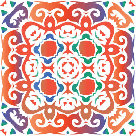 Traditional ornate mexican talavera. Creative design. Vector seamless pattern texture. Red abstract background for web backdrop, print, pillows, surface texture, wallpaper, towels. Foto de archivo - 133432699