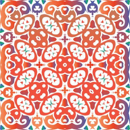 Mexican vintage talavera tiles. Minimal design. Vector seamless pattern illustration. Red antique background for pillows, print, wallpaper, web backdrop, towels, surface texture. Foto de archivo - 133432710