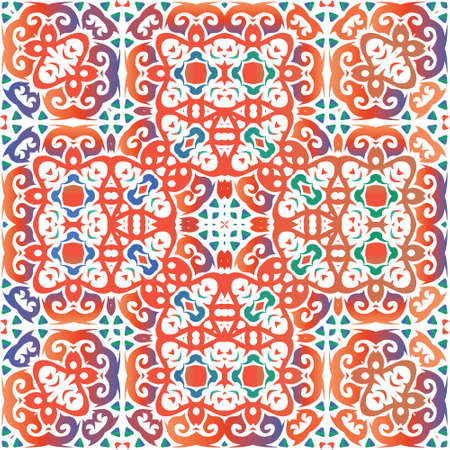 Decorative color ceramic talavera tiles. Vector seamless pattern elements. Bathroom design. Red folk ethnic ornament for print, web background, surface texture, towels, pillows, wallpaper. Foto de archivo - 133432713