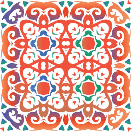 Antique talavera tiles patchwork. Vector seamless pattern trellis. Stylish design. Red mexican ornamental decor for bags, smartphone cases, T-shirts, linens or scrapbooking. Foto de archivo - 133432719