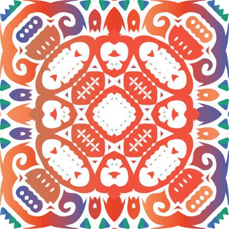 Ornamental talavera mexico tiles decor. Vector seamless pattern watercolor. Kitchen design. Red gorgeous flower folk print for linens, smartphone cases, scrapbooking, bags or T-shirts. Foto de archivo - 133432718
