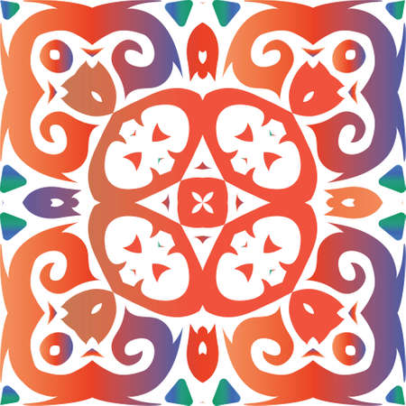 Traditional ornate mexican talavera. Vector seamless pattern trellis. Geometric design. Red abstract background for web backdrop, print, pillows, surface texture, wallpaper, towels. Foto de archivo - 133432711