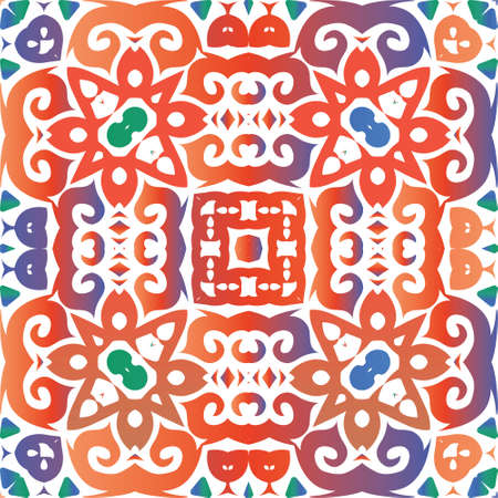 Mexican vintage talavera tiles. Geometric design. Vector seamless pattern trellis. Red antique background for pillows, print, wallpaper, web backdrop, towels, surface texture. Foto de archivo - 133432721