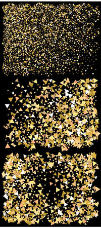 Abstract gold triangles for holidays. Magic design elements. Vector illustration object. Gold trendy modern elegant background set for anniversary, birthday celebrate or other festive event.