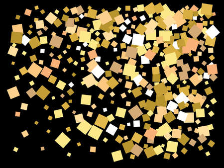 Colorful inspiring festive confetti. Vector illustration layout. Graphic element for your design. Gold falling abstract creative decoration for birthday celebrate, anniversary, party or event. Illusztráció