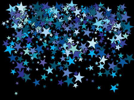 Chaotic stars on black background. Magic glitter design elements. Vector illustration surprise. Blue elegant trendy pattern for paper packaging, greeting card, banner, invitation, postcard. Vecteurs